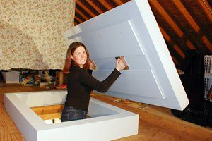 attic.hatch.premade & Heat going up the attic stair hatch? - Rona Fischman